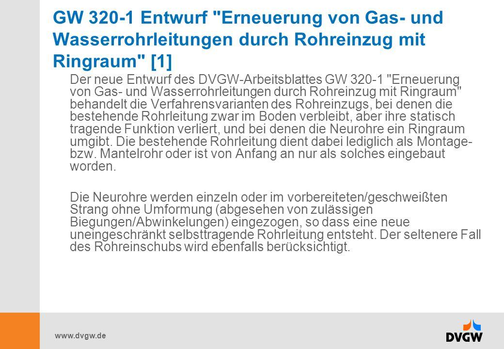 GW 320-1 Entwurf Erneuerung von Gas- und Wasserrohrleitungen durch Rohreinzug mit Ringraum [1]